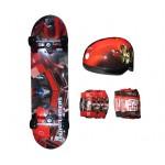 Kit Skate Infantil Transformers Prime Preto e Vermelho