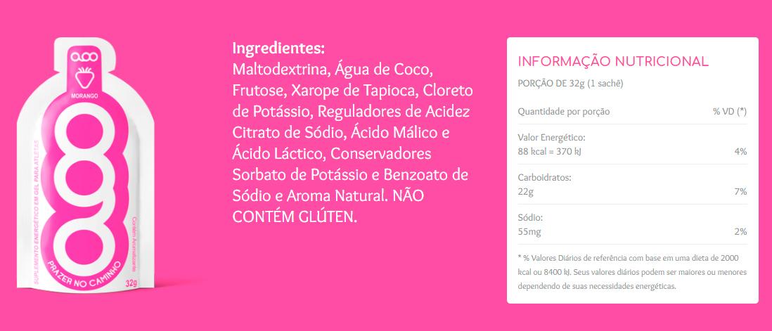 Tabela Nutricional Gel AOO Sabor Morango